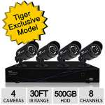 Night Owl TL-84 Security System- 8 Channel 960H 500GB Hard Drive DVR, Four 480p SD all weather Cameras, Smart Phone App, Motion Active recording, Night Vision, Real Time intrusion alerts.